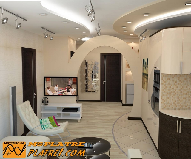 Decoration platre plafond for Model faux plafond salon