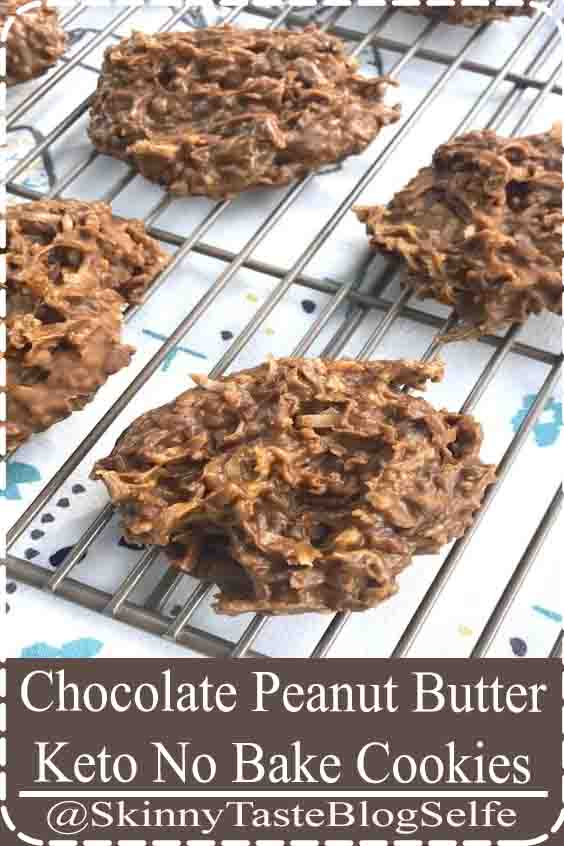 4.7 ★★★★★ These Chocolate Peanut Butter Keto No Bake Cookies are my new go-to guilt-free treat Theyre super easy to whip up no cooking required and you only need 5 simple real food ingredients. #Chocolate #PeanutButter #Keto #NoBake #Cookies #KetoRecipes