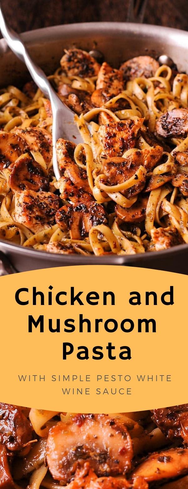 Chicken and Mushroom Pasta with Simple Pesto White Wine Sauce  #chicken #pasta #pesto #mushrooms #easydinner