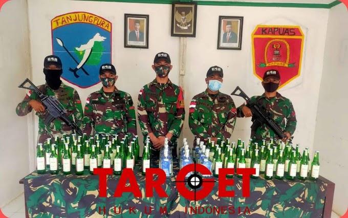Untuk Kesekian Kalinya, Satgas Pamtas RI-Malaysia Yonif 642/Kps Gagalkan Penyelundupan Ratusan Botol Minuman Keras