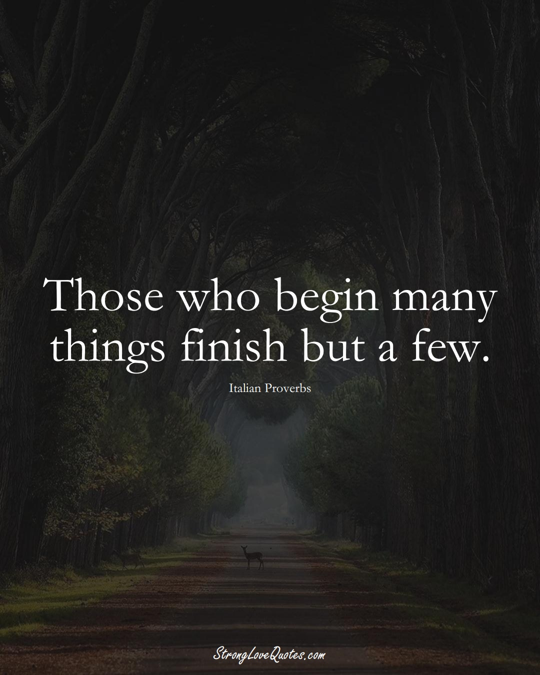 Those who begin many things finish but a few. (Italian Sayings);  #EuropeanSayings