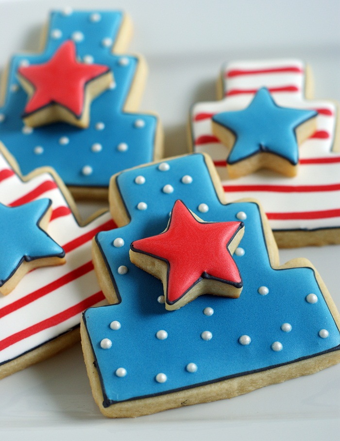 patriotic star cake cookies for the 4th of July