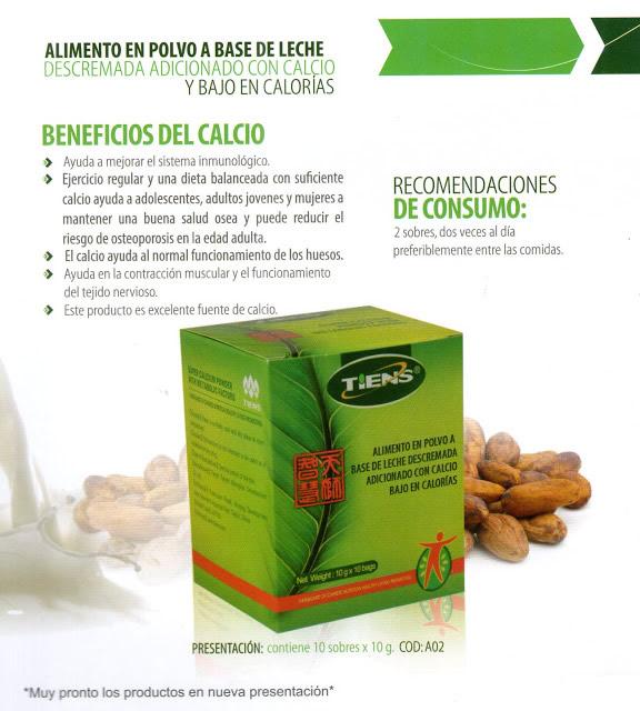 Alimento en Polvo a base de leche descremada adicionada con Calcio Tiens y bajo en Calorías