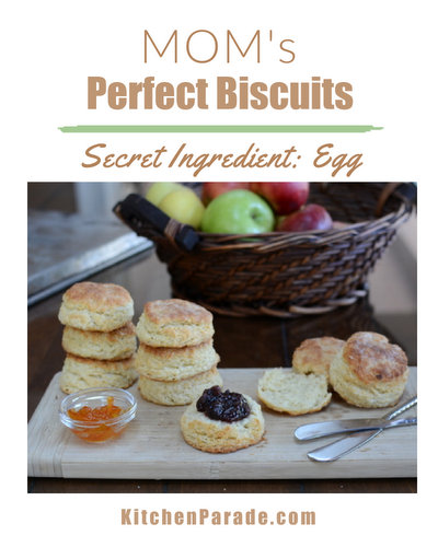 Mom's Perfect Biscuits, the family recipe, perfected by three generations of biscuit makers and one persistent food blogger. The secret ingredient? One egg.