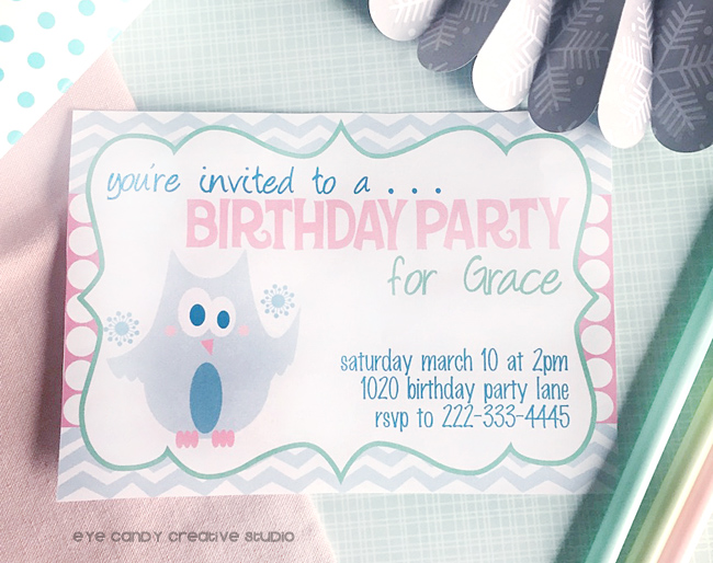 lil snowflake birthday invite, kids winter birthday theme, owl invite