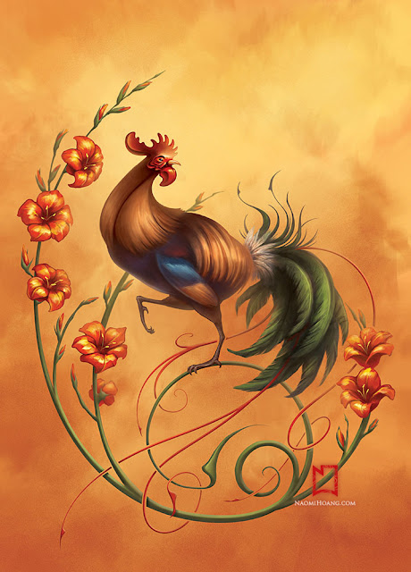 Year of the Rooster illustration by Naomi Hoang