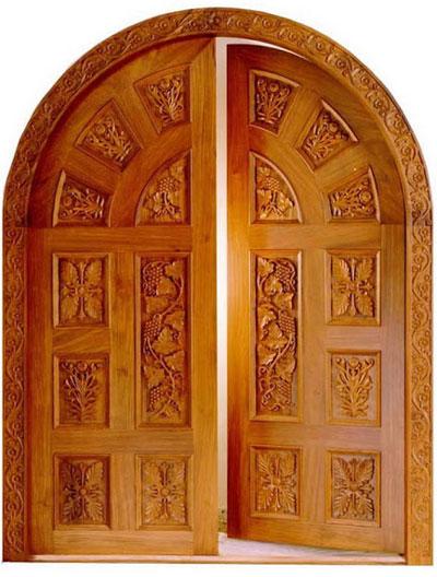 New Kerala Model Wooden Front Door Double Door Designs