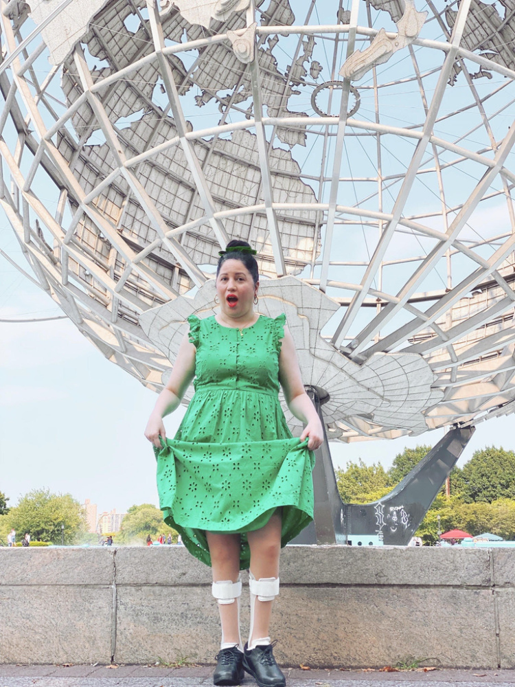 A Vintage Nerd, Vintage Nerd, J Crew Green Dress, Retro Plus Size Fashion, Retro Lifestyle Blog, 1964 World's Fair, Queens World's Fair Globe, Disability Pride Month, CMT Fashion, Disability and Fashion