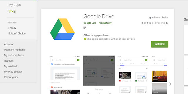 Google Drive App Joins on Playstore Billion of Peoples Installs