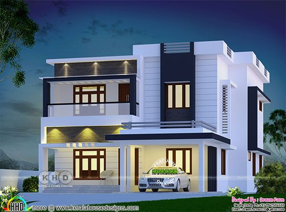 2555 square feet 4 bedroom contemporary Kerala house plan
