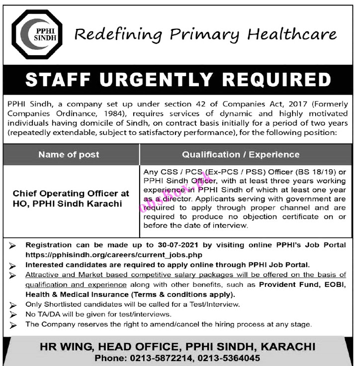 Peoples Primary Healthcare Initiative PPHI Sindh New Jobs 2021