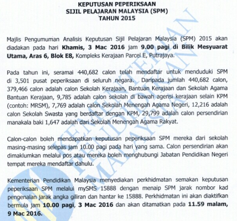 check your spm and stpm result online or through short messege system (sms)
