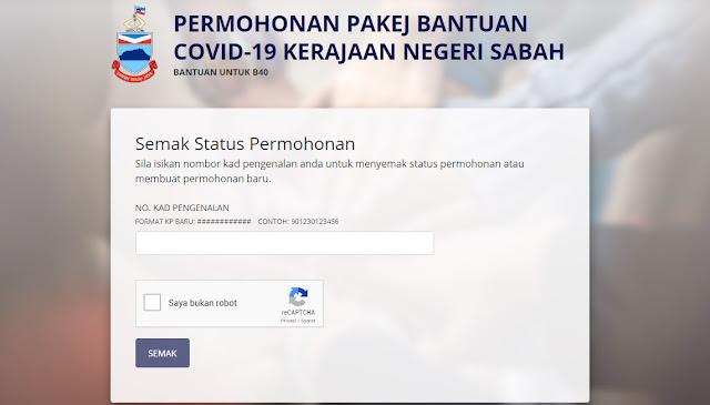 Permohonan Bantuan COVID-19 Sabah