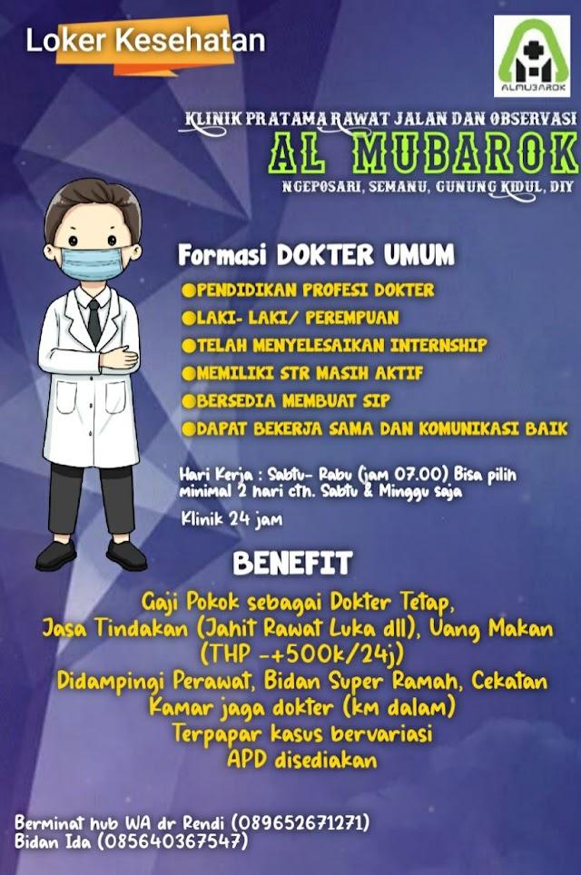 Loker Dokter Klinik Pratama Rawat Jalan Al Mubarok Gunung Kidul, DIY