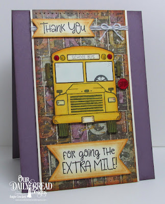 ODBD School Bus Driver, ODBD Custom Pennant Flags Dies, Artistic Outpost Vagabond Treasures Paper Collection, Card Designer Angie Crockett