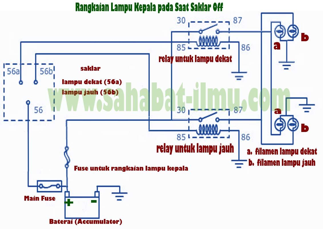 Rangkaian  Komponen  Dan Cara Kerja Rangkaian Lampu Kepala