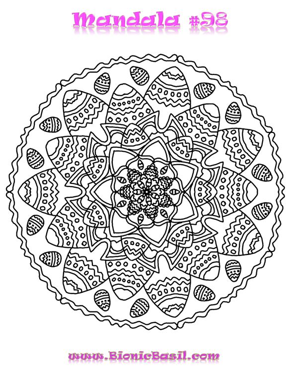 Mandalas on Monday ©BionicBasil® Colouring With Cats #98 Downloadable Image