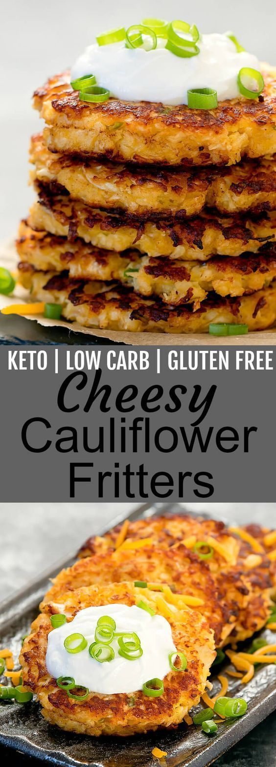 CHEESY CAULIFLOWER FRITTERS (KETO, LOW CARB)