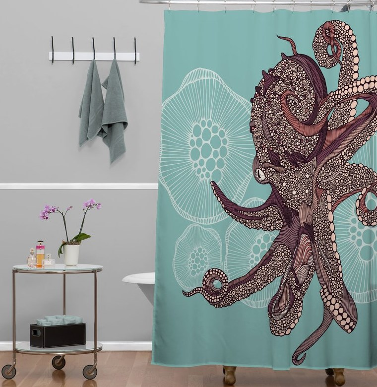 Bath Cotton Octopus Shower Curtain Ikea - HomeEbiz
