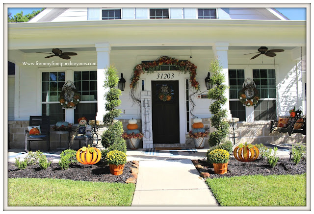 Fall- Porch-Suburban-farmhouse-white-fall-decor-mums-pumpkins-wreaths-scarecrows-From My Front Porch To Yours