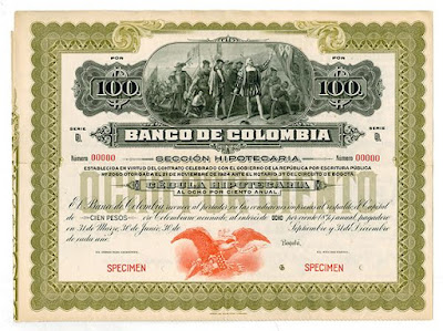 Banco de Colombia with vignette of painting by John Vanderlyn