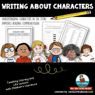 MrsQuimbyReads, writing about characters, write about reading, graphic organizers, teaching resources