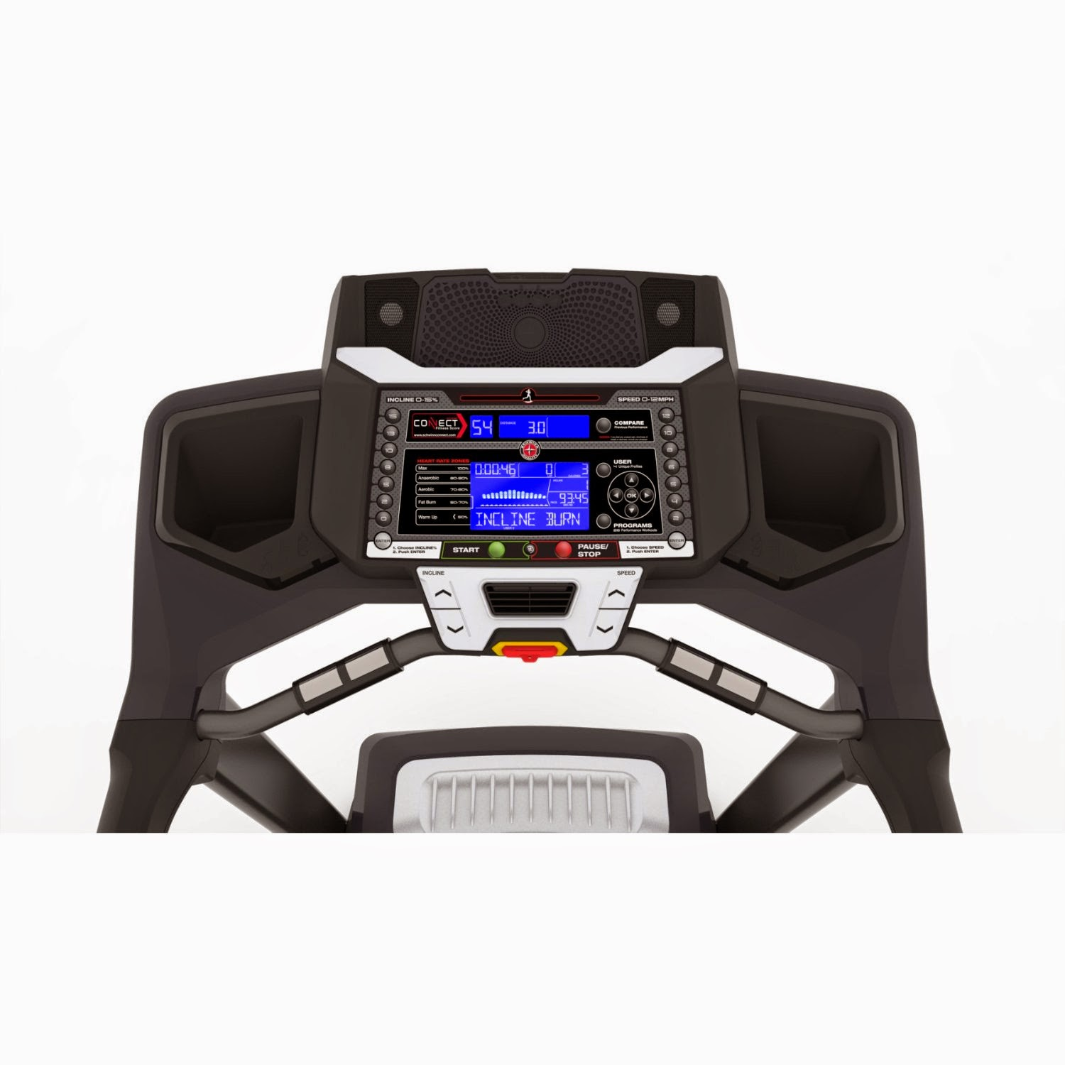Schwinn 870 console, dual screen, 2 screens, LCD blue backlit display shows workout stats