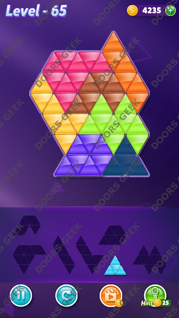 Block! Triangle Puzzle 7 Mania Level 65 Solution, Cheats, Walkthrough for Android, iPhone, iPad and iPod