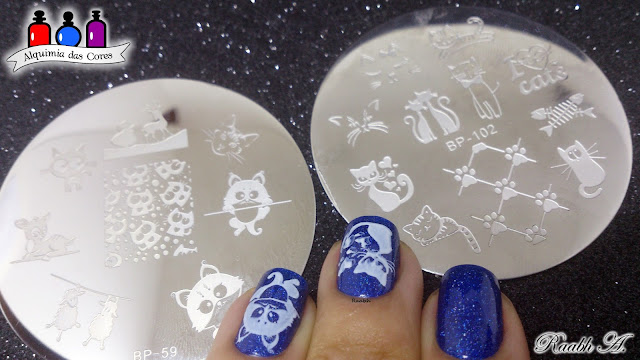 #odisseia10, PicturePolish Freya's Cats, unhas carimbadas, BP-59, BP-102