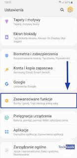 Samsung Ustawienia Zaawansowane funkcje