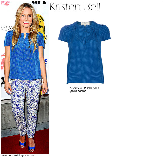 WHAT SHE WORE Kristen Bell in Vanessa Bruno Athe blue