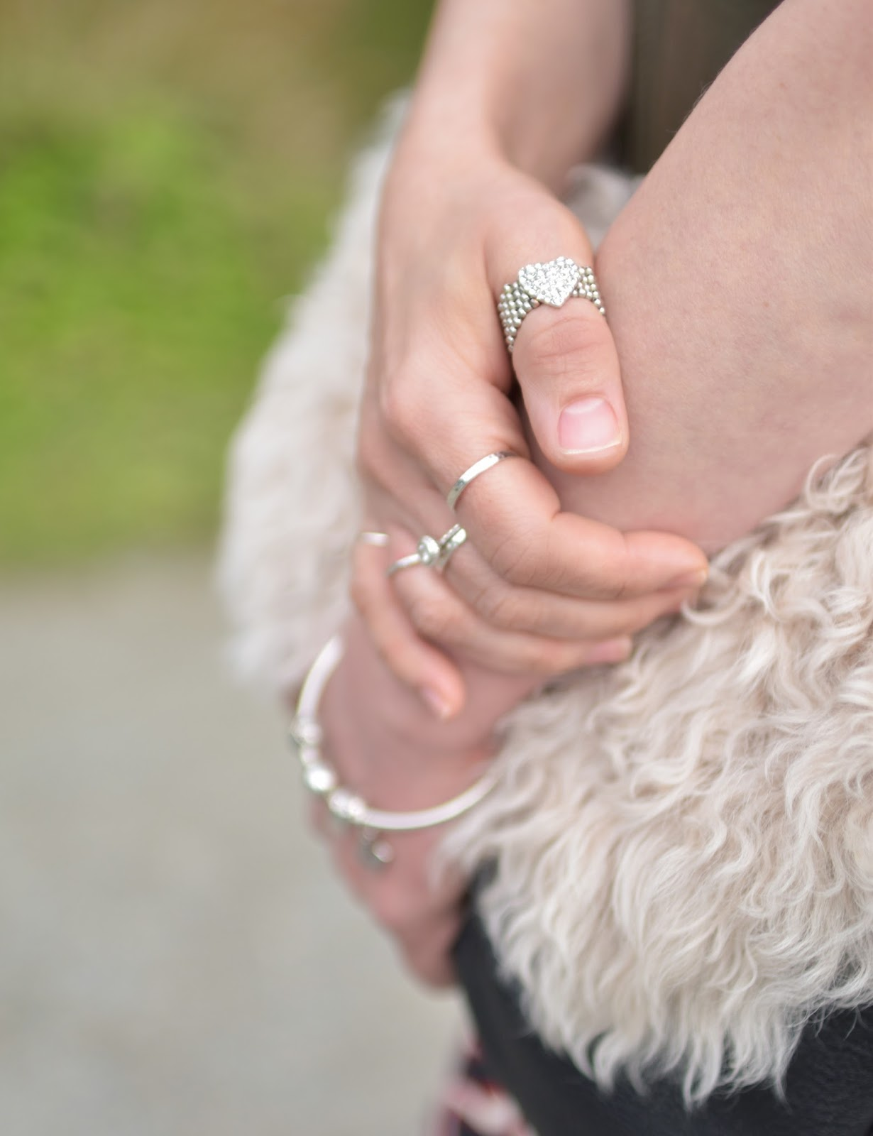 sheepskin clutch, rhinestone heart ring