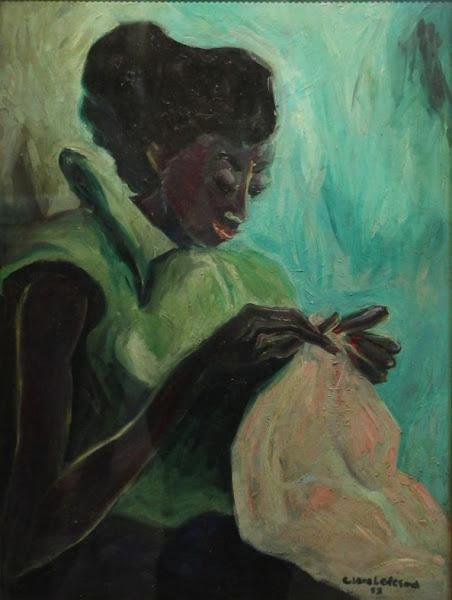 Mujer cosiendo, 1952