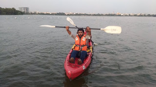 Kayaking at hussain sagar