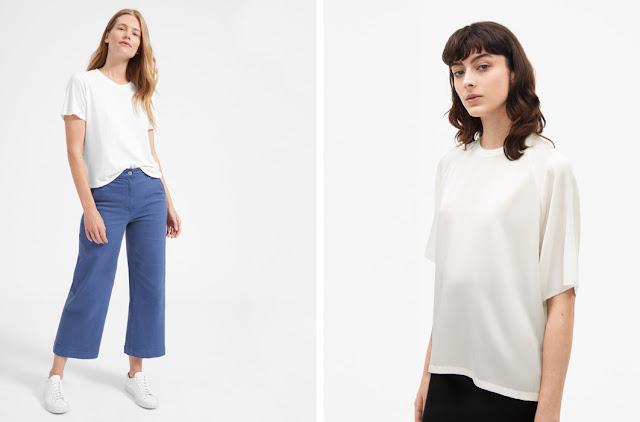 Белая футболка и белый шелковый базовый топ