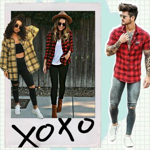 Outfits para chicas con camisa de cuadros de hombre