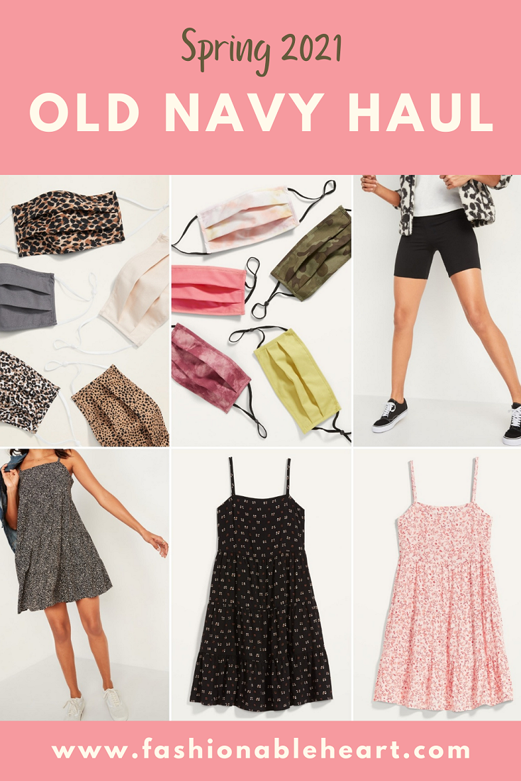 bbloggers, canadian beauty bloggers, lifestyle blog, lbloggers, fbloggers, plus size blogger, psbloggers, old navy, haul, spring 2021, face masks, tiered swing dress, biker shorts, shelf bra tank, plus size, summer style, shopping, online haul
