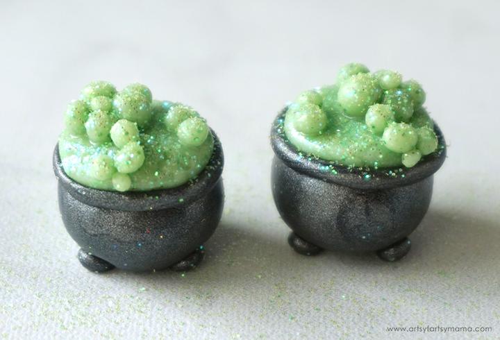 Polymer Clay Halloween Cauldron Earrings