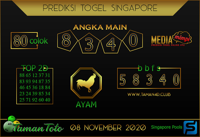 Prediksi Togel SINGAPORE TAMAN TOTO 08 NOVEMBER 2020