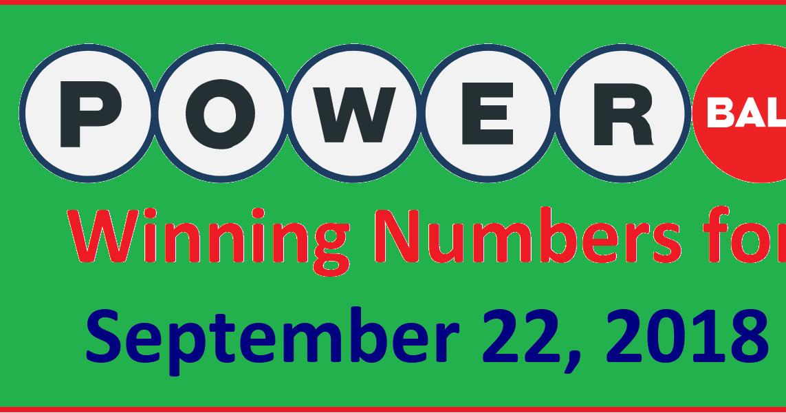 Powerball Winning Numbers For Saturday 22 September 2018