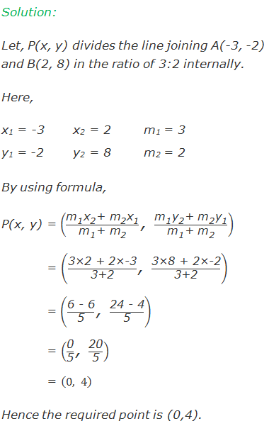 """Solution:  Let, P(x, y) divides the line joining A(-3, -2) and B(2, 8) in the ratio of 3:2 internally. Here, x1 = -3      x2 = 2m1 = 3 y1 = -2      y2 = 8m2 = 2 By using formula, P(x, y) = ((""""m"""" _""""1""""  """"x"""" _""""2""""  """"+"""" 〖"""" m"""" 〗_""""2""""  """"x"""" _""""1"""" )/(""""m"""" _""""1""""  """"+ """" """"m"""" _""""2""""  ) """",""""  (""""m"""" _""""1""""  """"y"""" _""""2""""  """"+ """" """"m"""" _""""2""""  """"y"""" _""""1"""" )/(""""m"""" _""""1""""  """"+"""" 〖"""" m"""" 〗_""""2""""  )) = (""""3×2 + 2×-3"""" /""""3+2""""  """",""""  """"3×8 + 2×-2"""" /""""3+2"""" )            = (""""6 - 6"""" /""""5""""  """",""""  """"24 - 4"""" /""""5"""" ) = (""""0"""" /""""5""""  """",""""  """"20"""" /""""5"""" ) = (0,4) Hence the required point is (0,4)."""