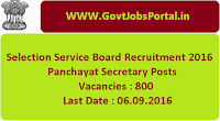 Selection Service Board Recruitment 2016