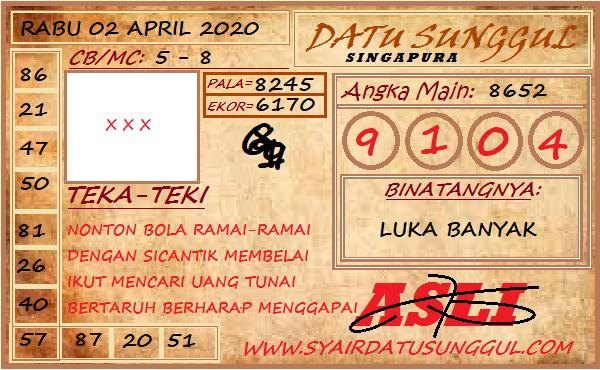 Prediksi SGP Hari Ini Kamis 02 April 2020 - Syair Datu Sunggul SGP