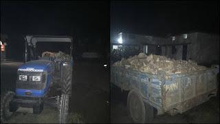 चोरी का डोलामाईट पत्थर एवं रेत भरकर परिवहन करते 2 टैक्टर जप्त, दोनों चालक गिरफ्तार