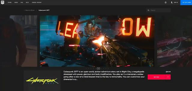 تحميل CyberPunk 2077 من متجر ايبك جيمز Epic Games