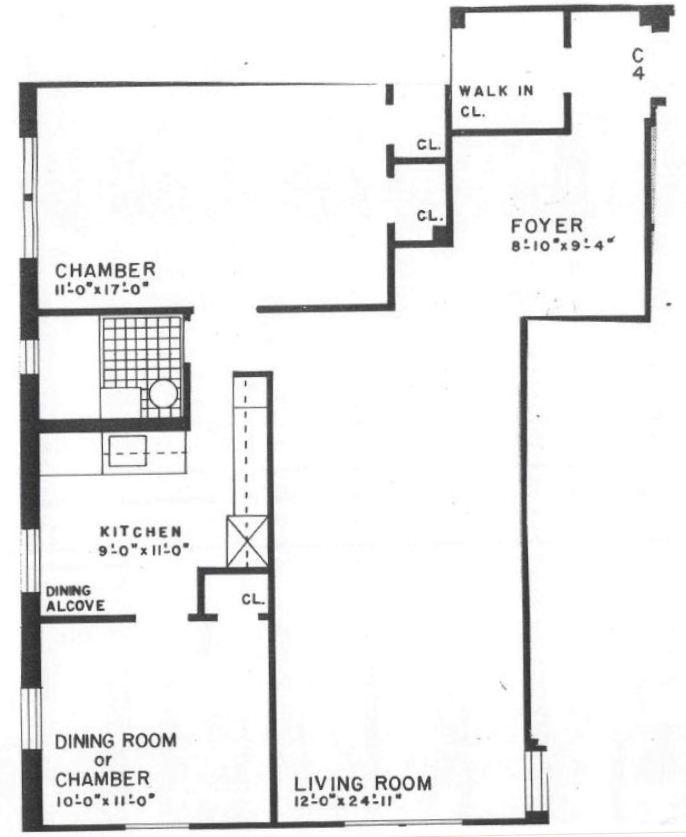 King Apartments: 2 Bed, 1 Bath Floor Plans