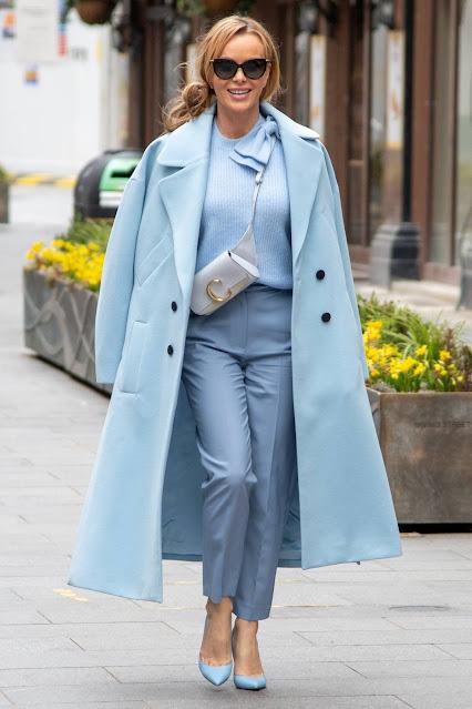 Amanda Holden – Seen leaving Global Studios in all sky blue
