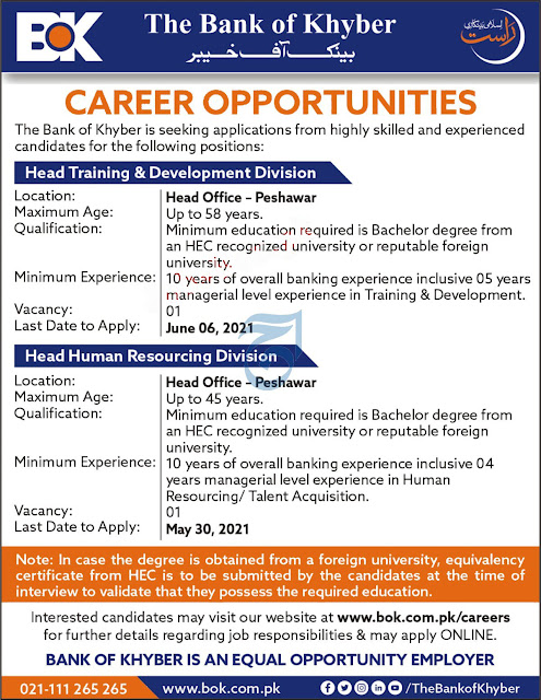 BOK Jobs 2021 Online Apply Pakistan