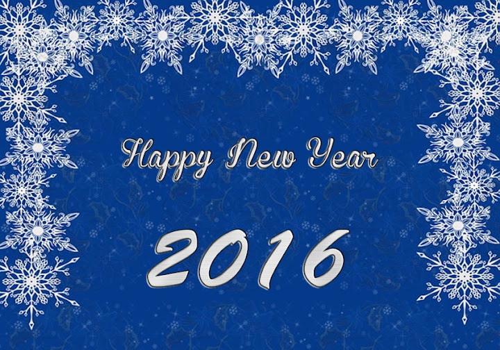 Snow Blue Happy New Year 2016 Image