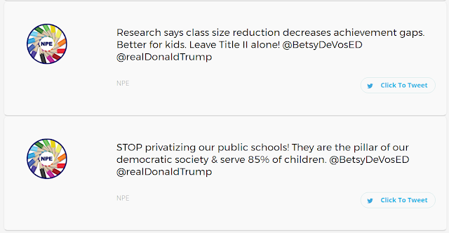Tweet Trump and DeVos about their bad budget